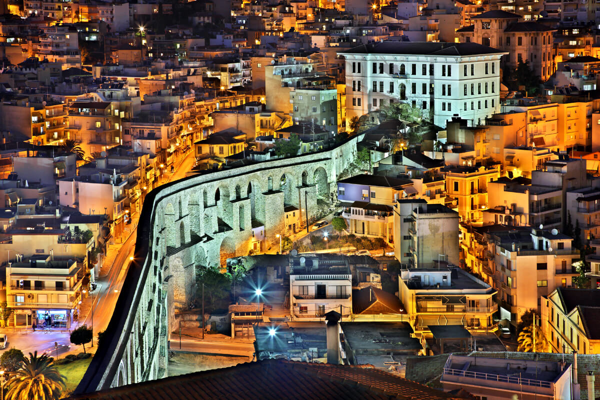 The Old Aqueduct and Kavala's 1st High School - Photo by Iraklis Milas